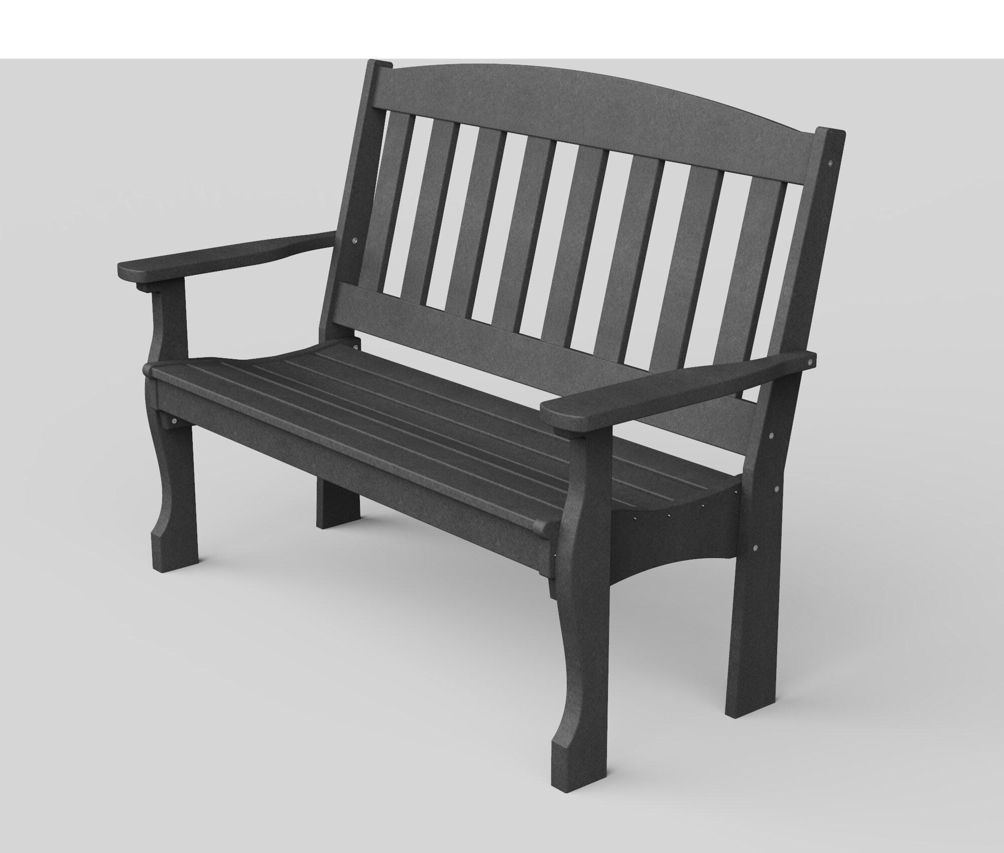 Picture of: August Grove Leeroy Plastic Garden Bench Reviews Wayfair