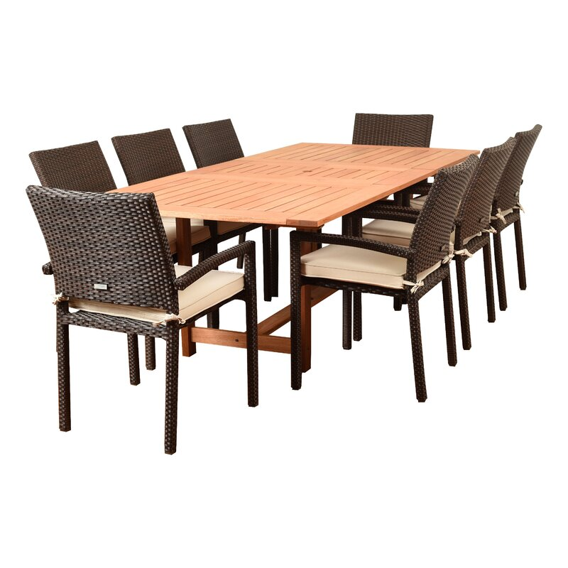 Sol 72 Outdoor Brighton Rectangular 8 Person 71 Long Dining Set With Cushions Reviews Wayfair