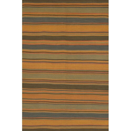 Loon Peak Barbazan Hand Woven Striped Wool Green Orange Rug Wayfair