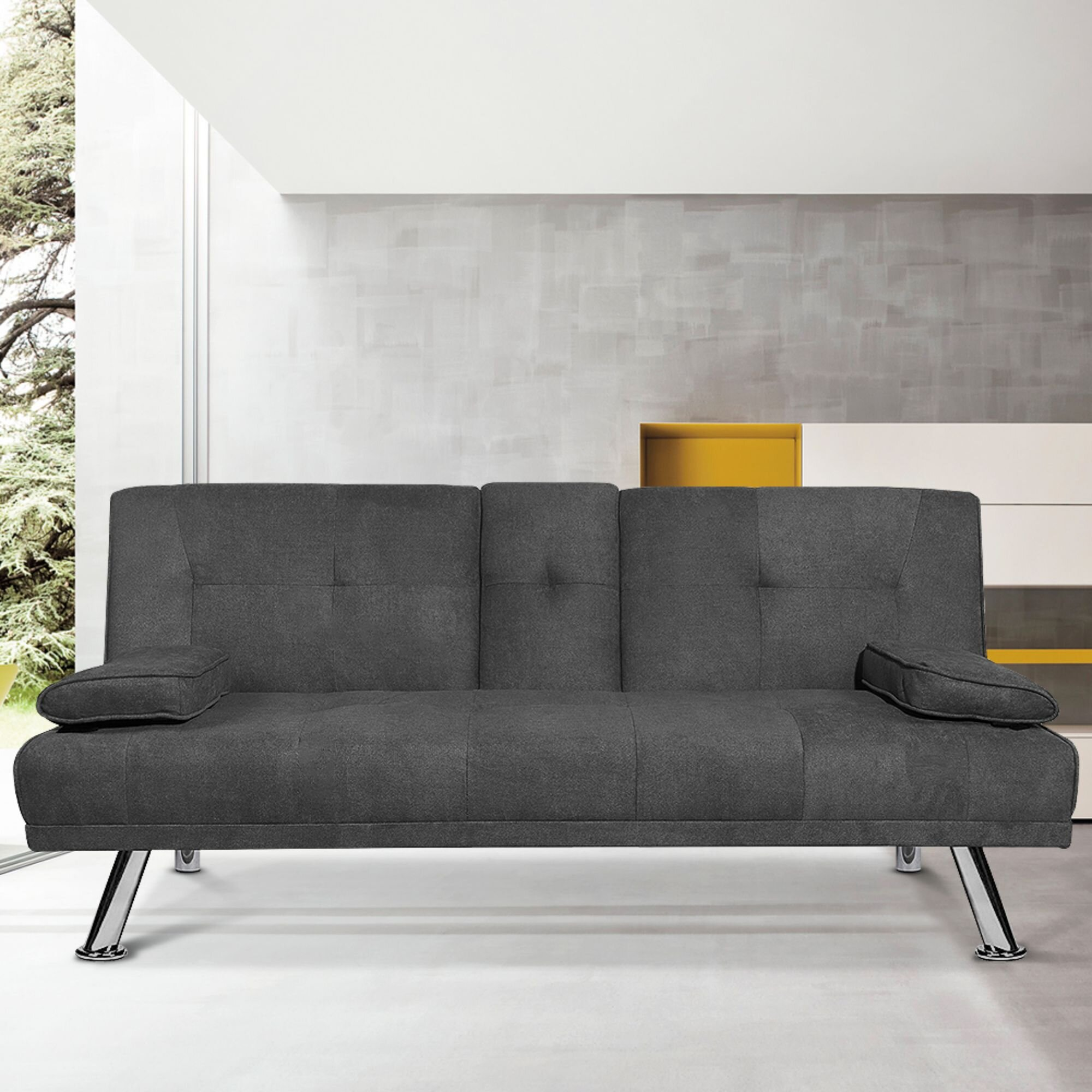 Modern Sleeper Sofa With Removable Armrest And 2 Cup Holders Fold Up Down Recliner Couch With 5 Metal Legs Convertible Futon Sofa Bed Twin Size Sofa For Living Room Pu Leather