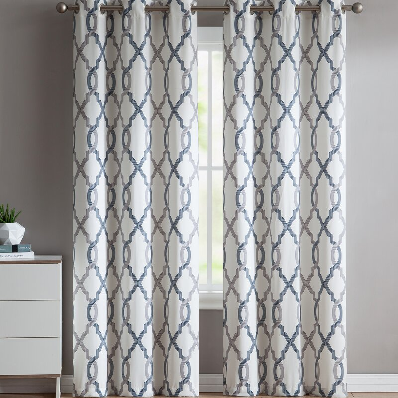 Andover Mills Torr Geometric Semi Sheer Grommet Curtain