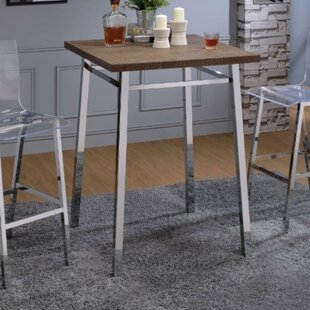 Tyndall Contemporary Square Wood and Metal Pub Table Orren Ellis