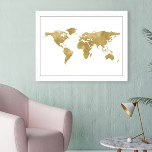 Gold world map wall art youll love wayfair world map gold framed graphic art gumiabroncs Image collections