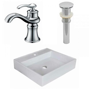 Inexpensive Ceramic Square Vessel Bathroom Sink with Faucet ByAmerican Imaginations