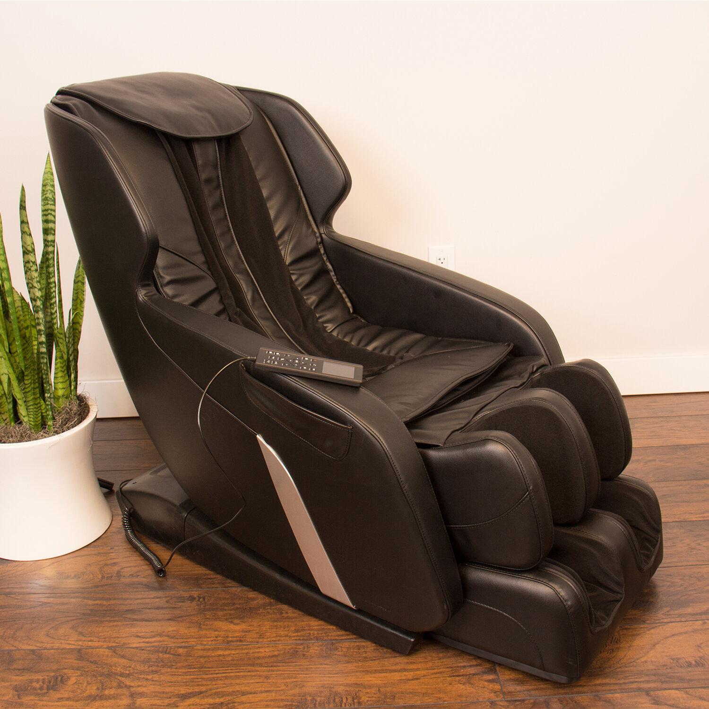 Brayden Studio Ultimate Genuine Leather Reclining Adjustable Width Massage Chair Wayfair Ca