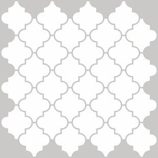 Quatrefoil 50 8cm X L Stick Splashback Tile In White Grey