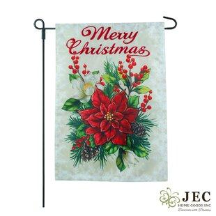 Christmas Poinsettia 2-Sided Burlap 1'6 X 1'0.5 Ft. Garden Flag by JEC Home Goods