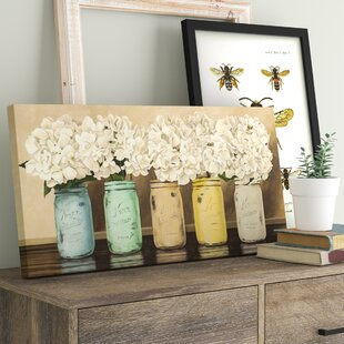 9ed0a4374259  Hydrangeas in Mason Jars  Painting Print on Wrapped Canvas