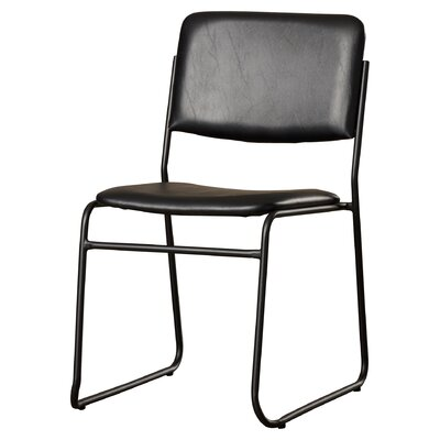 Ebern Designs MacArthur Metal Stacking Guest Chair Upholstery / Frame Finish: Black Vinyl / Black