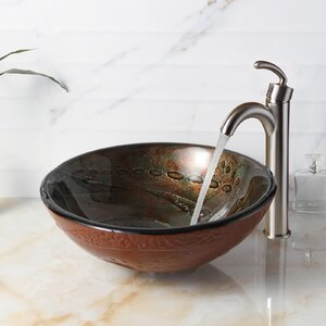 Hot Melted Rock Pattern Glass Circular Vessel Bathroom Sink