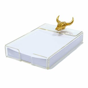 Union Rustic Oldaker Acrylic Notepad Tray with Bull Skull