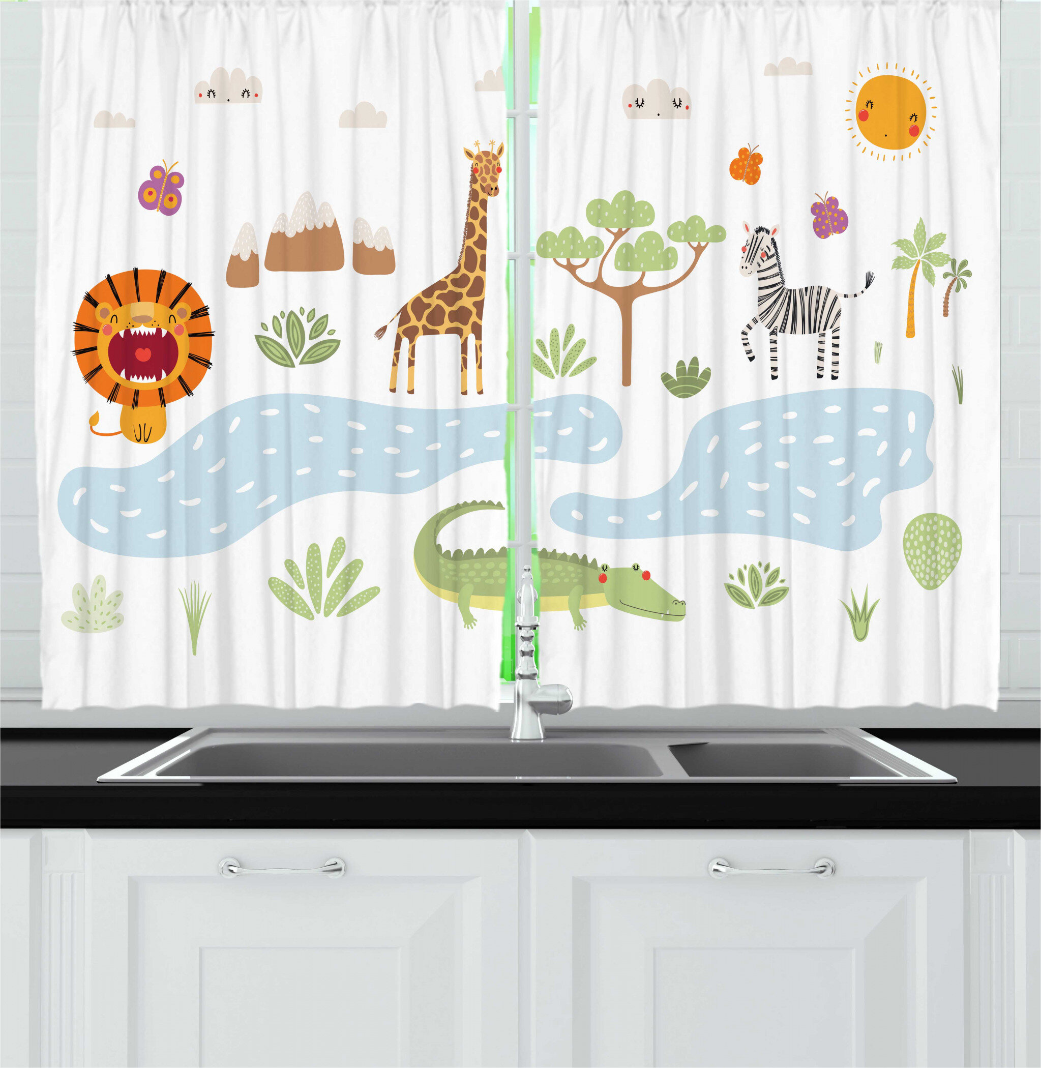 East Urban Home 2 Piece Crocodile Doodle Design Of Various Forest Animals By The Lake Landscape Kitchen Curtain Set Wayfair