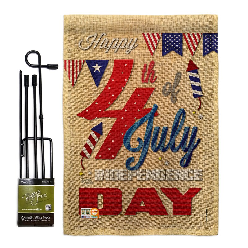 Breeze Decor Happy 4th Americana Fourth Of July Impressions 2 Sided Polyester 18 5 X 13 In Flag Set Wayfair