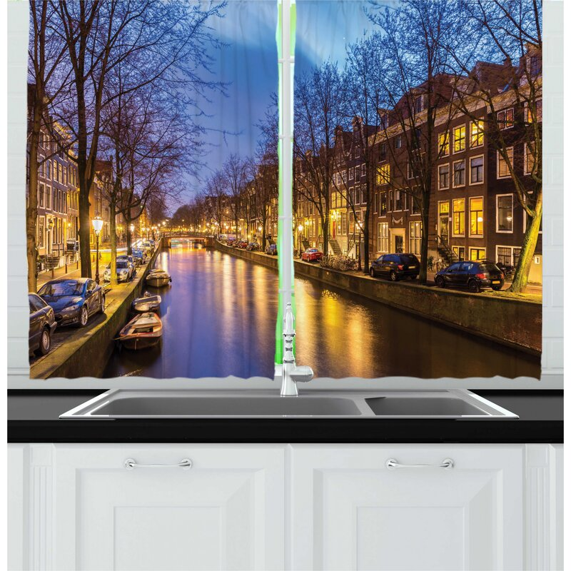 East Urban Home 2 Piece Amsterdam Real Life Romantic Picturesque Of City Canals West Side Sunset In Netherlands Kitchen Curtain Set Wayfair