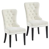 Kestrel Tufted Velvet Upholstered Parsons Chair in Ivory (Set of 2) by Gracie Oaks