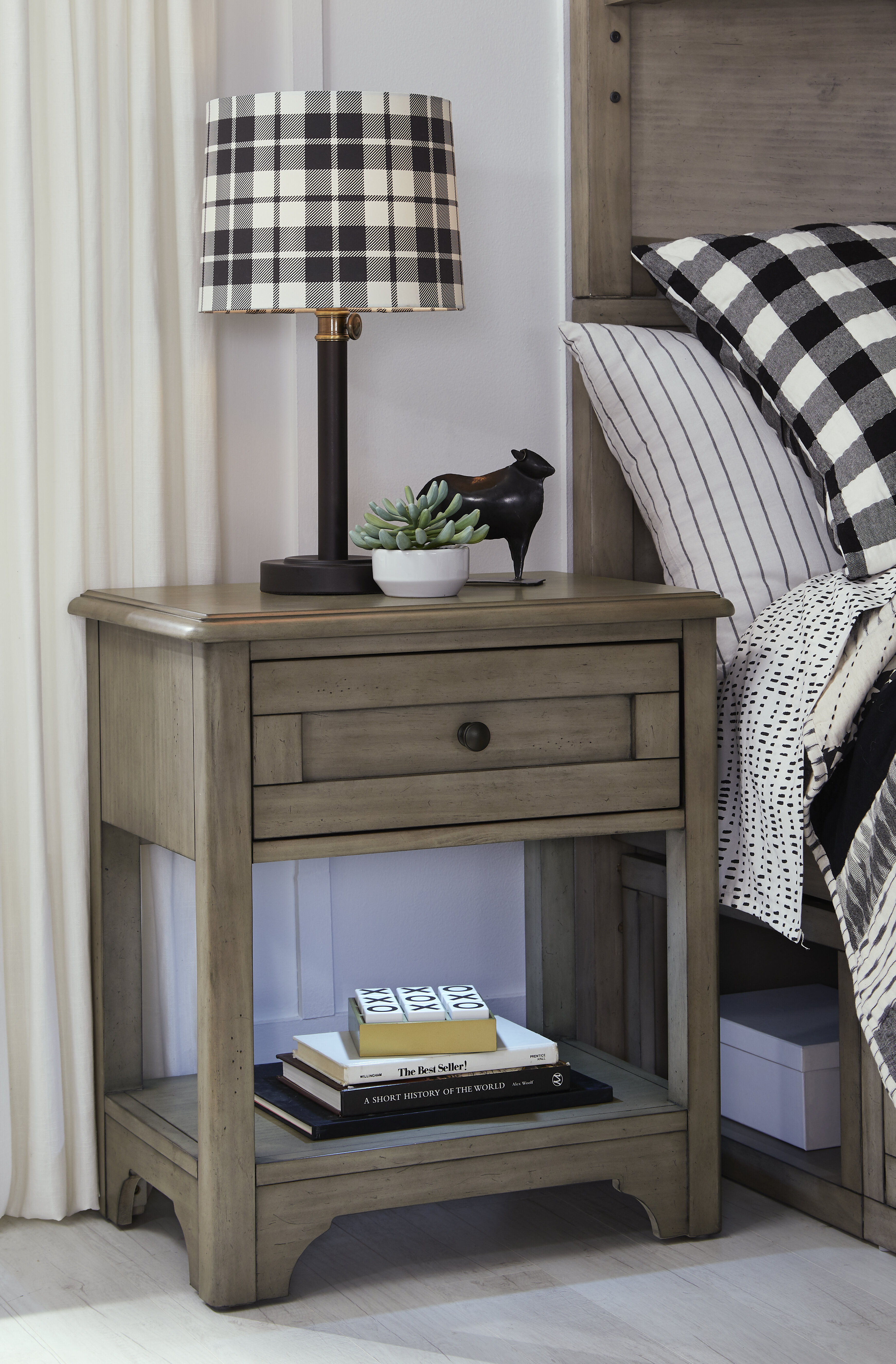 Ophelia Co Lally 1 Drawer Solid Wood Nightstand In Old Crate Brown Wayfair