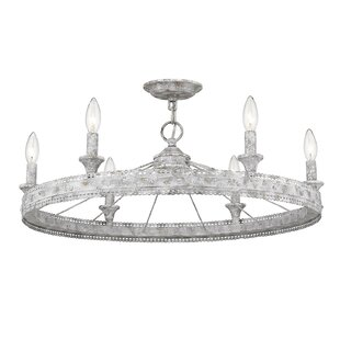 Cleo 6-Light Wagon Wheel Chandelier by One Allium Way