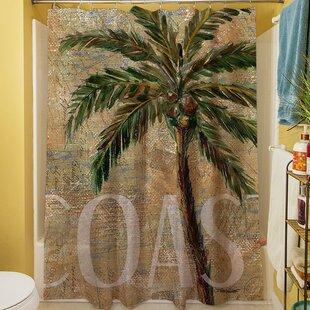 Big Save Coastal Palm Postcard Shower Curtain ByManual Woodworkers & Weavers