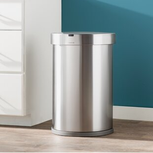 12 Gallon Semi-Round Sensor Trash Can with Liner Pocket