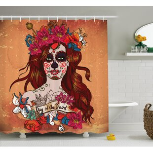 Kawamura Day Of The Dead Dia De Los Muertos Spanish Mexican Festive Skull Art Single Shower Curtain by East Urban Home Great price