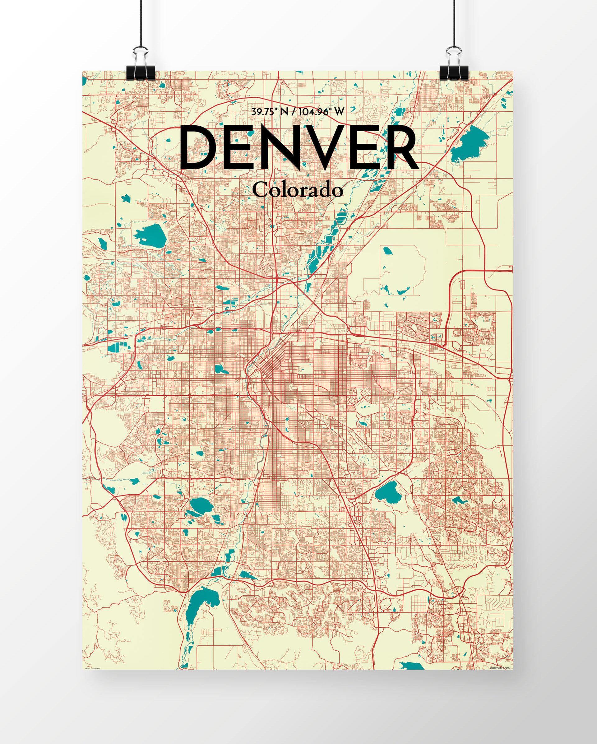 Wrought Studio \'Denver City Map\' Graphic Art Print Poster in Beige ...