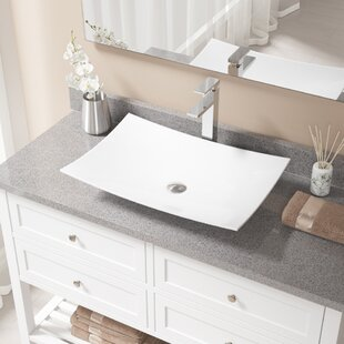 Find Vitreous China Rectangular Vessel Bathroom Sink with Faucet By MR Direct