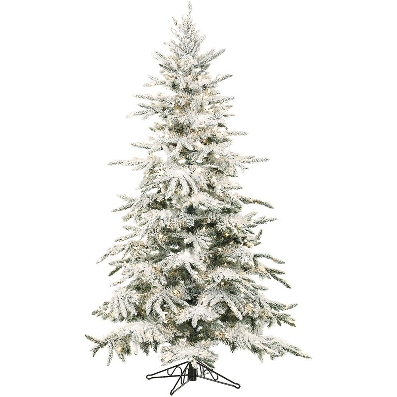 The Holiday Aisle Flocked Mountain 9 White Pine Artificial Christmas Tree With 800 Lights Reviews Wayfair