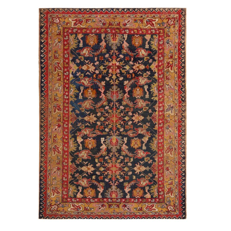 World Menagerie Between Floral Hand Knotted Wool Red Orange Area Rug Wayfair