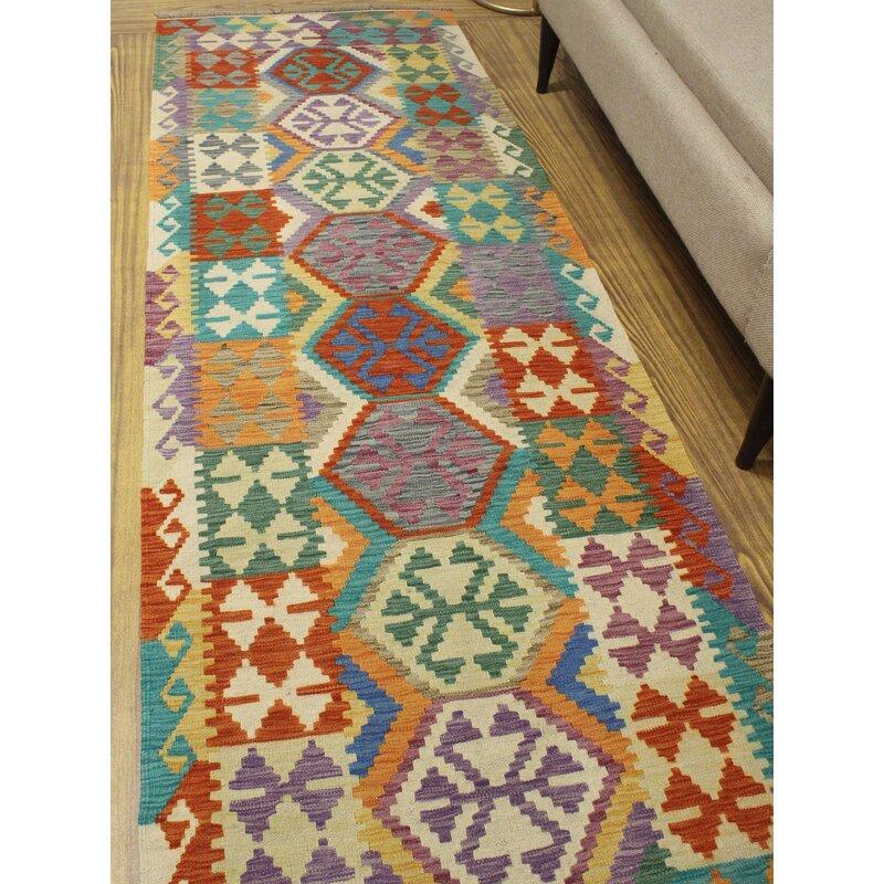Foundry Select Hults Geometric Handmade Kilim Wool Rust Area Rug Wayfair