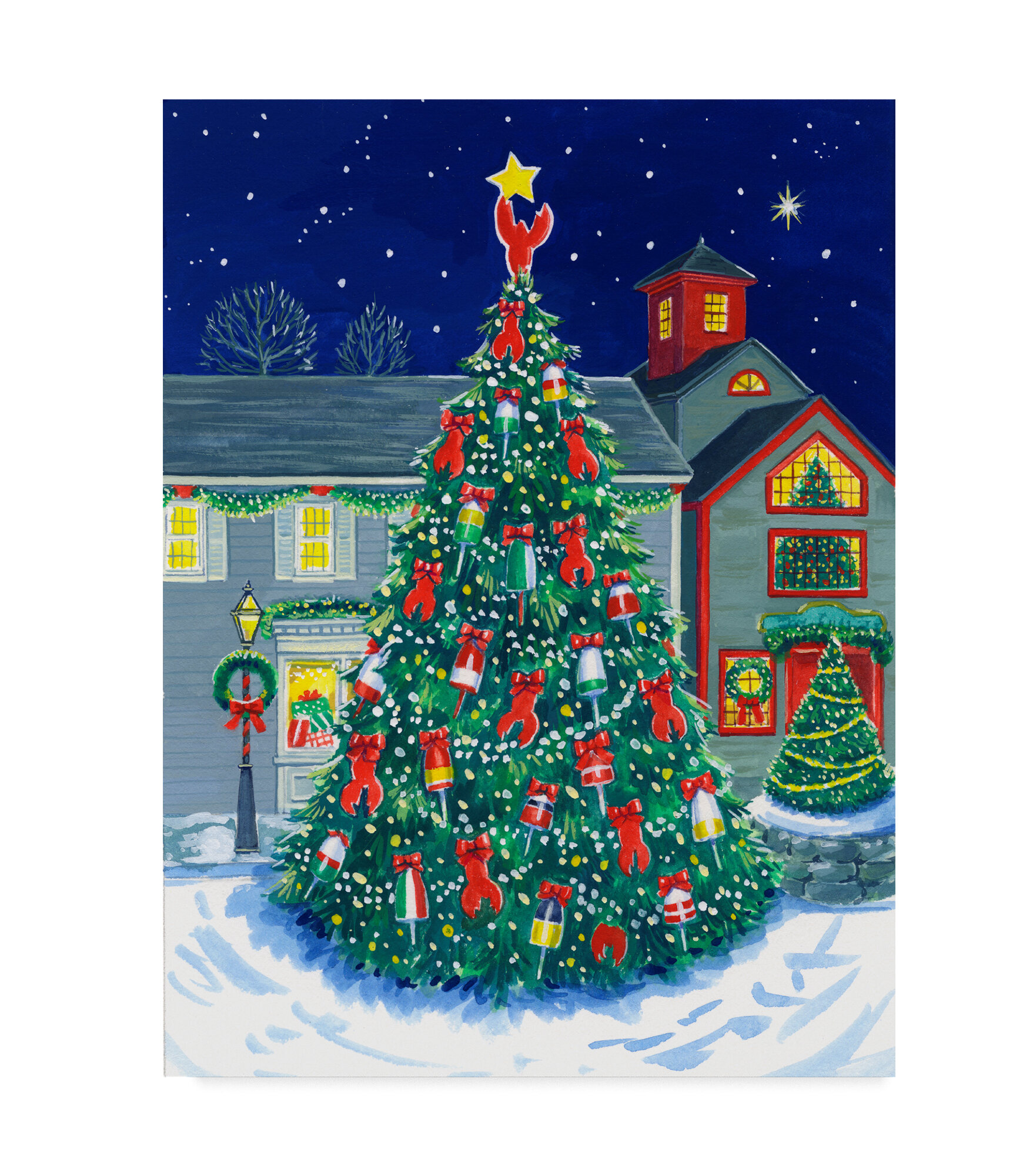 Acrylic Christmas Tree Painting.Kennebunkport Tree Acrylic Painting Print On Wrapped Canvas