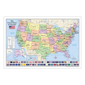 American Geographics 2 Piece World And Us Maps With Flags Wayfair - Us-map-with-state-flags