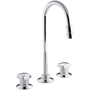 Kohler Triton Widespread Commercial Bathroom Sink Faucet with Rigid Connections and Gooseneck Spout with Vandal-Resistant Aerator, Requires Handles, Drain Not Included