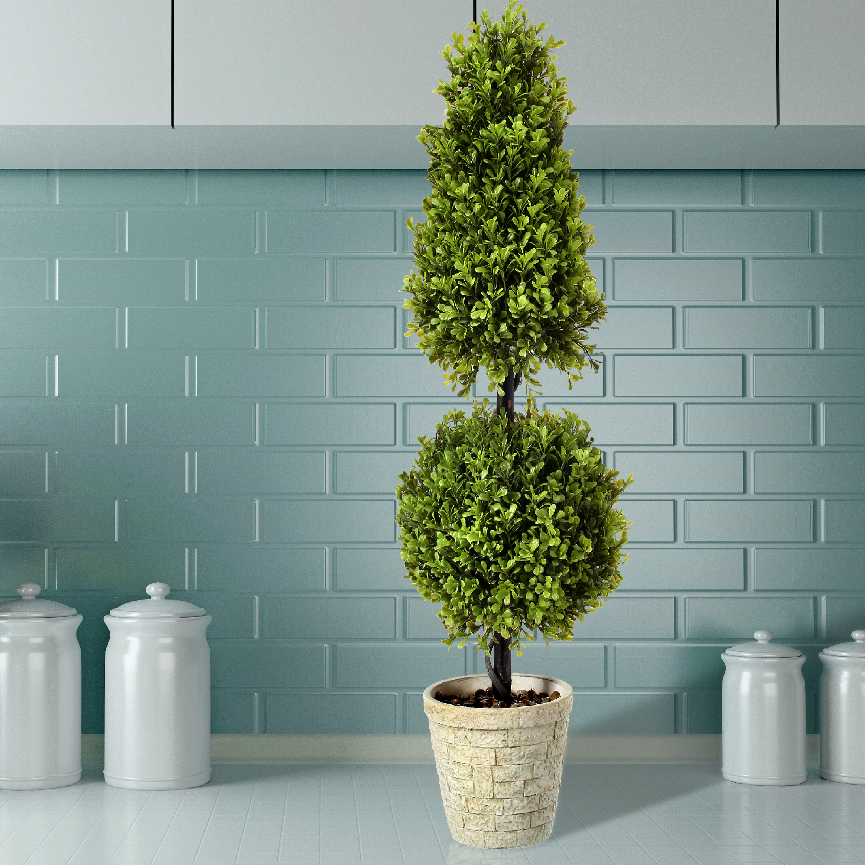3 ft Artificial Topiary Bay Tree Pair Potted for Outdoor and Indoor Use