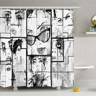 Purchase Fashion House Women Faces with Different Eye Makeup Eiffel Tower Romance Paris Image Shower Curtain Set ByAmbesonne