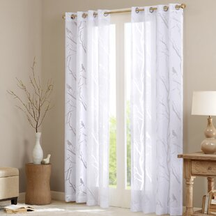 Givens Wildlife Sheer Burnout Grommet Single Curtain Panel by Charlton Home