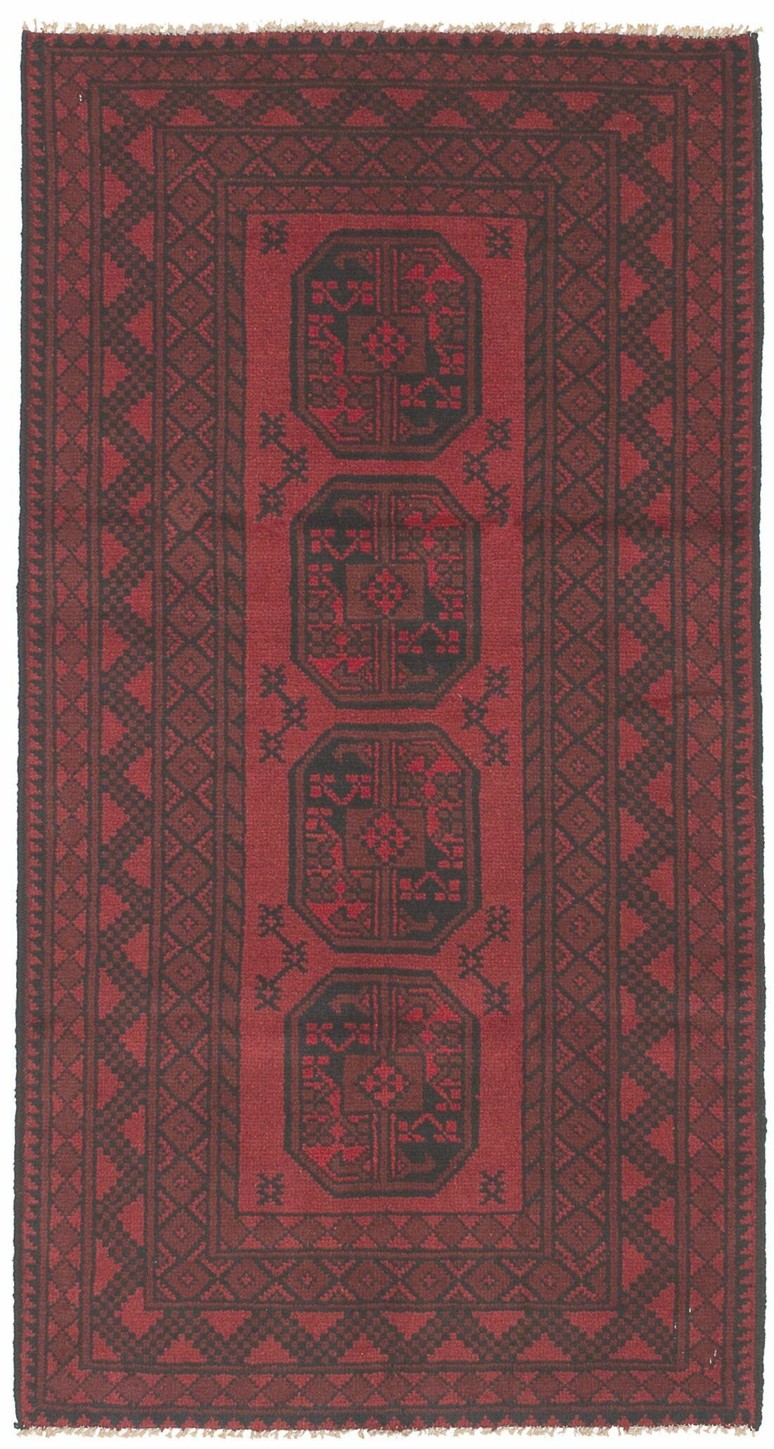 Isabelline One Of A Kind Alarick Hand Knotted Dark Red 3 4 X 6 3 Wool Area Rug Wayfair