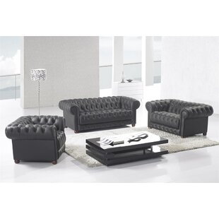 Canora Grey Peggie 3 Piece Leather Living..