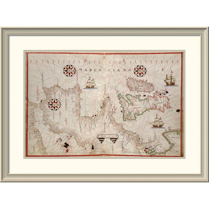 Map Of England France And Spain.East Urban Home Portolan Map Of Spain England Ireland France