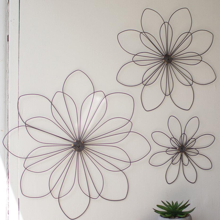 3 Piece Wire Flowers Wall Décor Set | Joss & Main