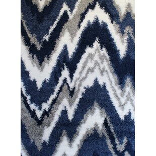 Price comparison Quarterman Shaggy Zig-Zag Gray/Navy Blue Area Rug By Wrought Studio