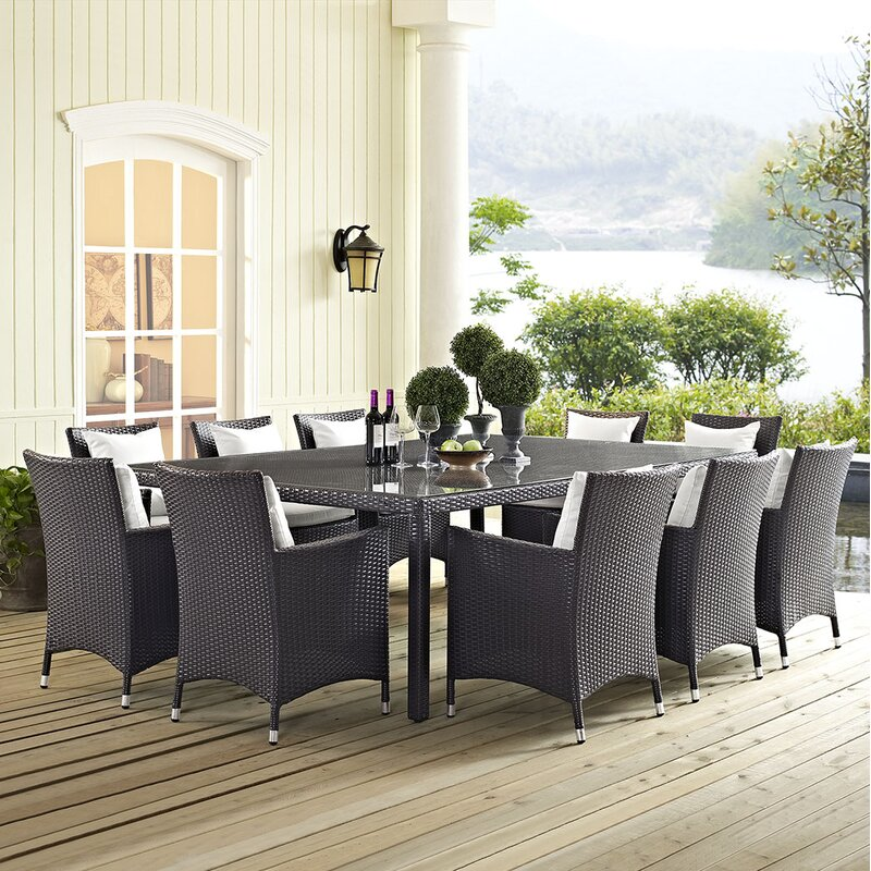 """Sol 72 Outdoor  Brentwood 11 Piece Dining Set with Cushion Table Size: 90.5"""" L x 63"""" W, Fabric Color: White"""