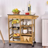 Hinckley Kitchen Cart with Stainless Steel Top by Rosecliff Heights