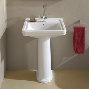 Price comparison Universal Ceramic 24 Pedestal Bathroom Sink with Overflow By Bissonnet