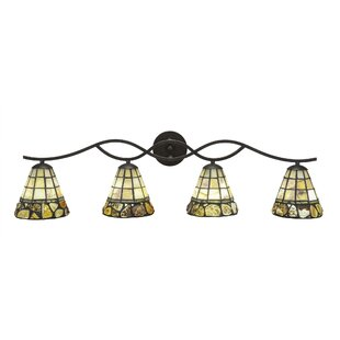 Red Barrel Studio Hiroko 4-Light Cobblestone Tiffany Glass Shade Vanity Light