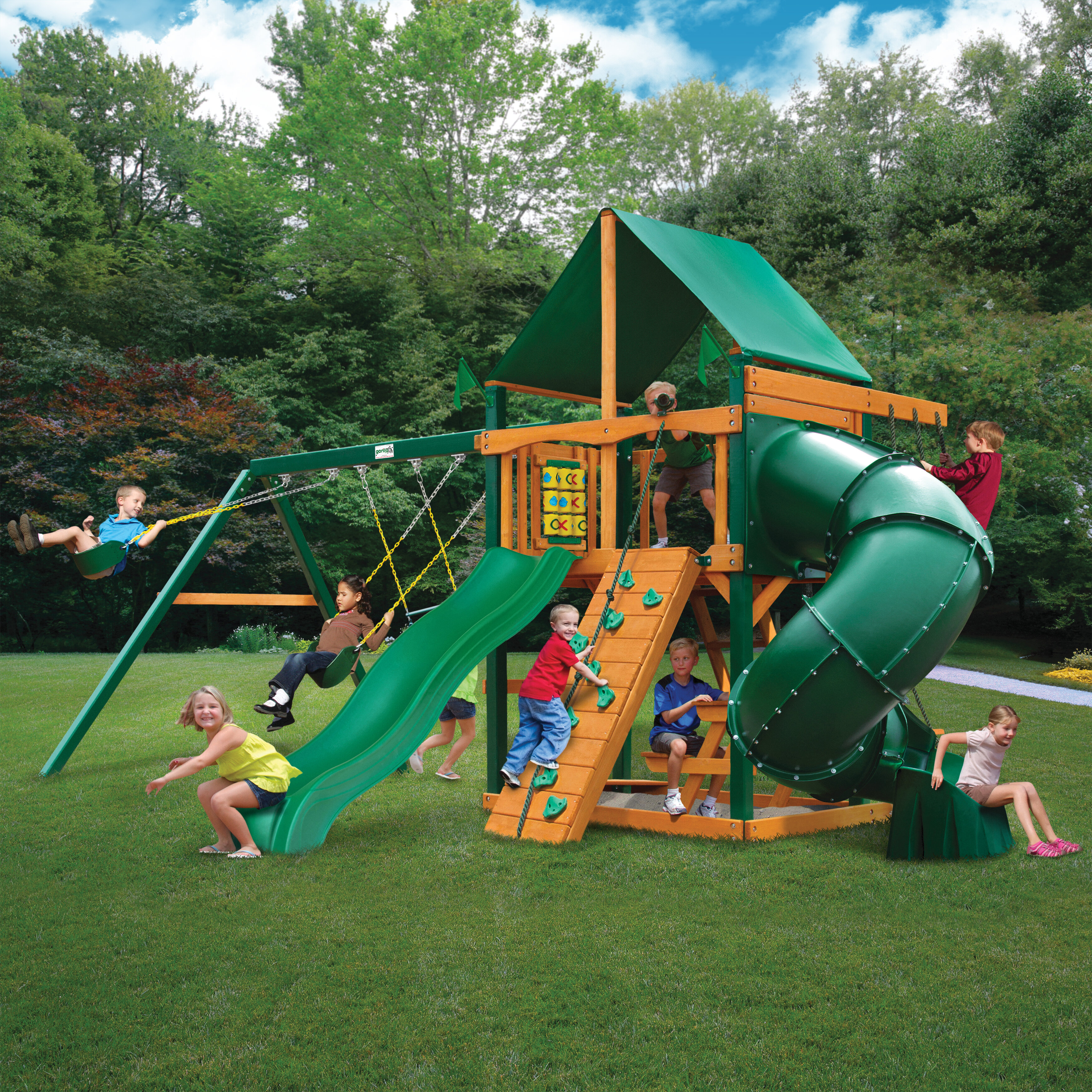 Gorilla Playsets Mountainer Swing Set with Green Vinyl Canopy u0026 Reviews | Wayfair & Gorilla Playsets Mountainer Swing Set with Green Vinyl Canopy ...