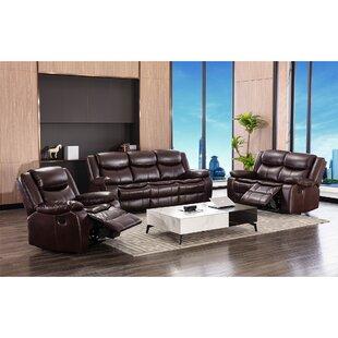 Eijaz 3 Piece Genuine Leather Reclining Living Room Set by Red Barrel Studio