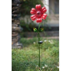 Beautiful Glass Flower LED Solar Garden Stake
