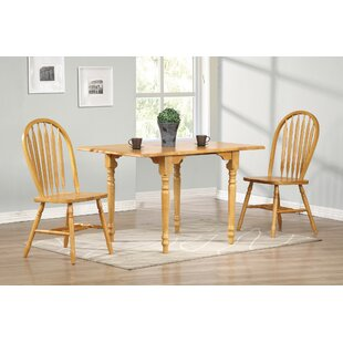 Lozano 3 Piece Drop Leaf Solid Wood Dining Set DarHome Co