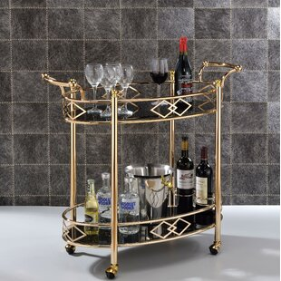 Timmy 2 Tier Metal Framed Bar Cart by Everly Quinn