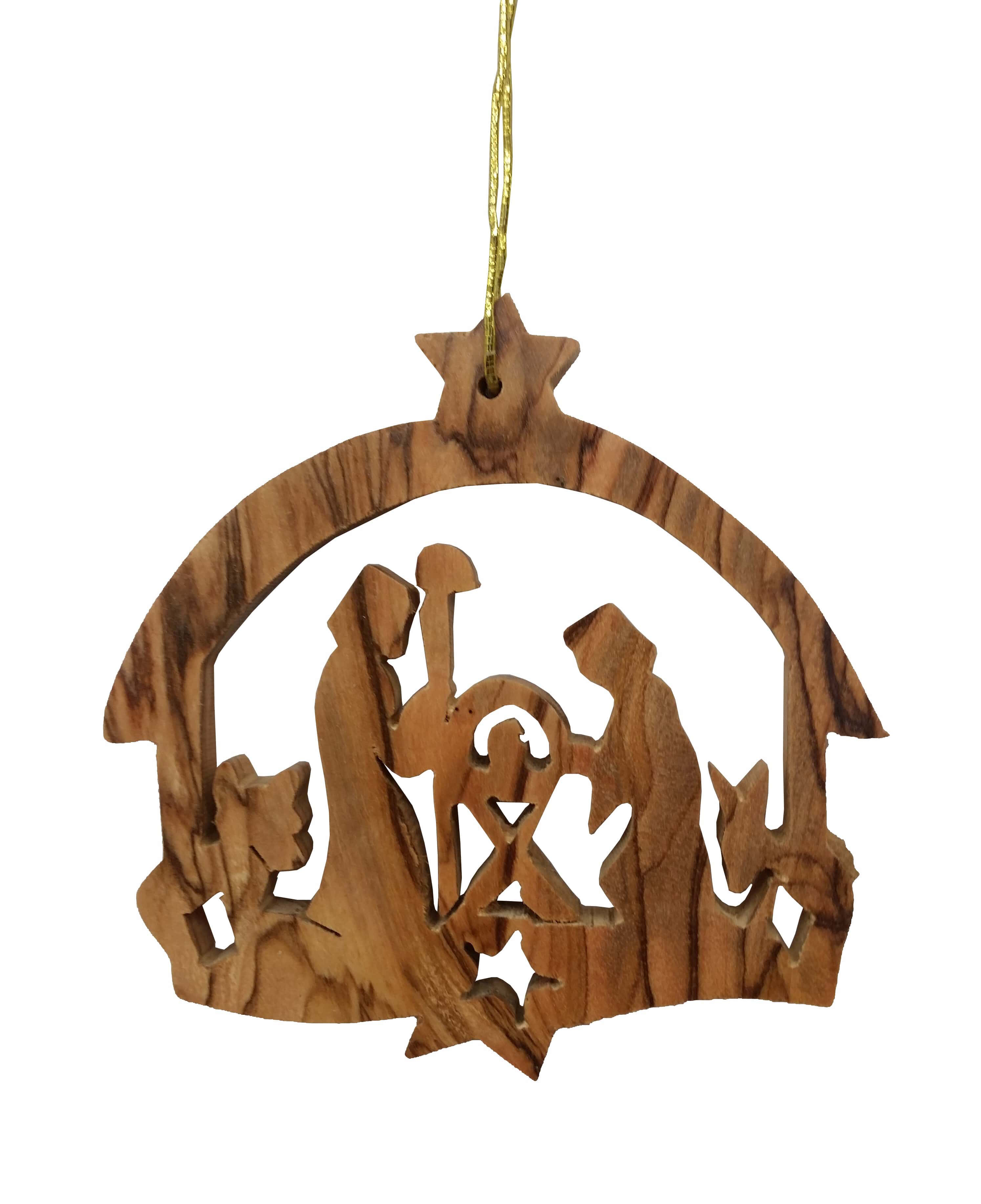 Earthwoodllc Olive Wood Nativity With Round Roof Ornament Wayfair